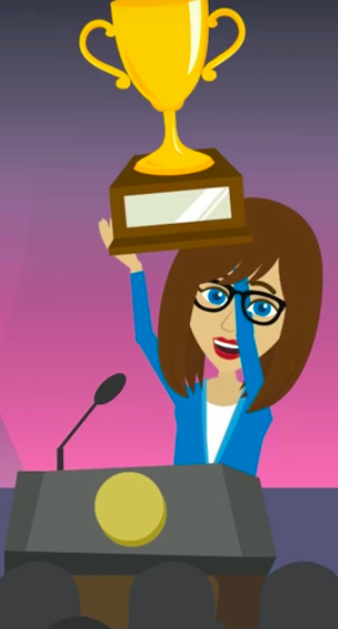 Animated C-style holding up trophy