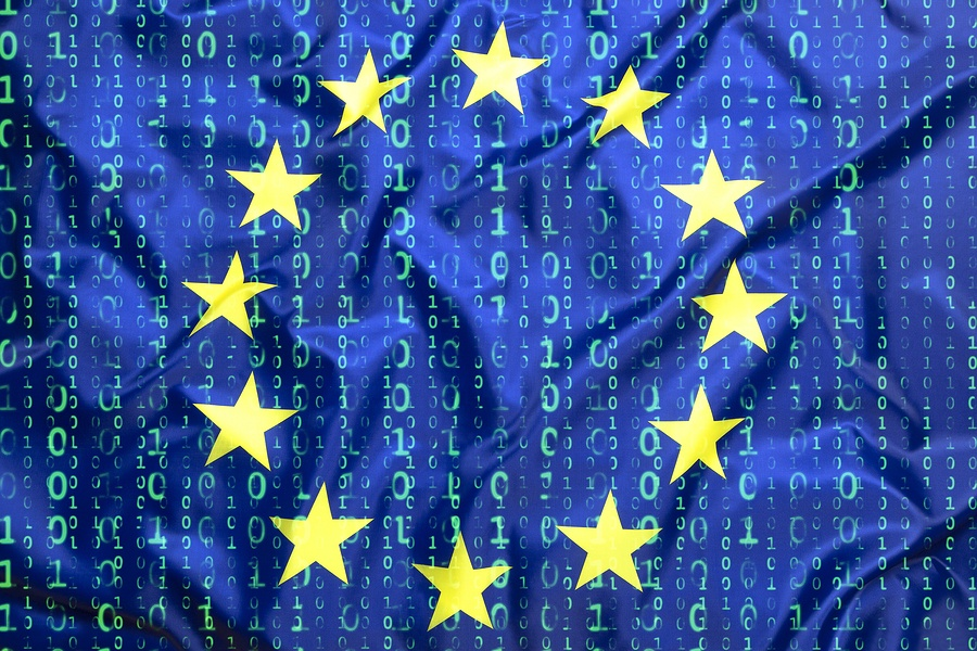 European union flag with data coding