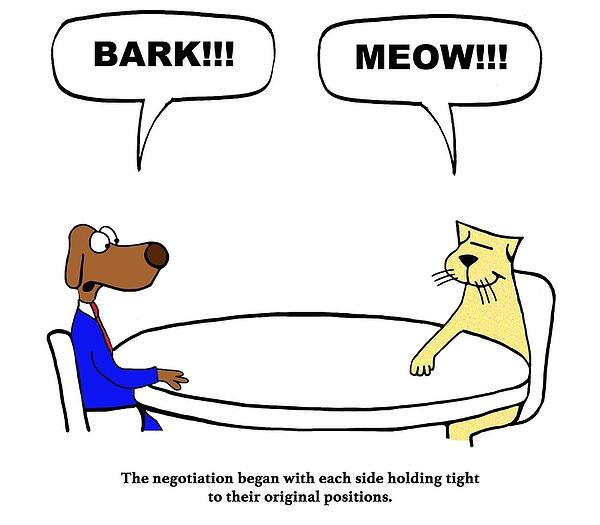 Dog barking and cat meowing Negotiation comic