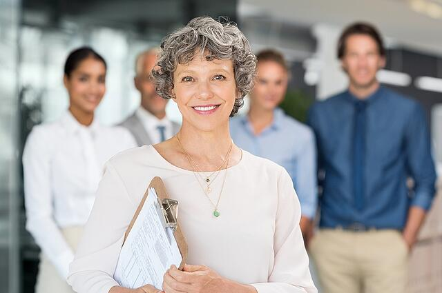 Mature women in leadership role