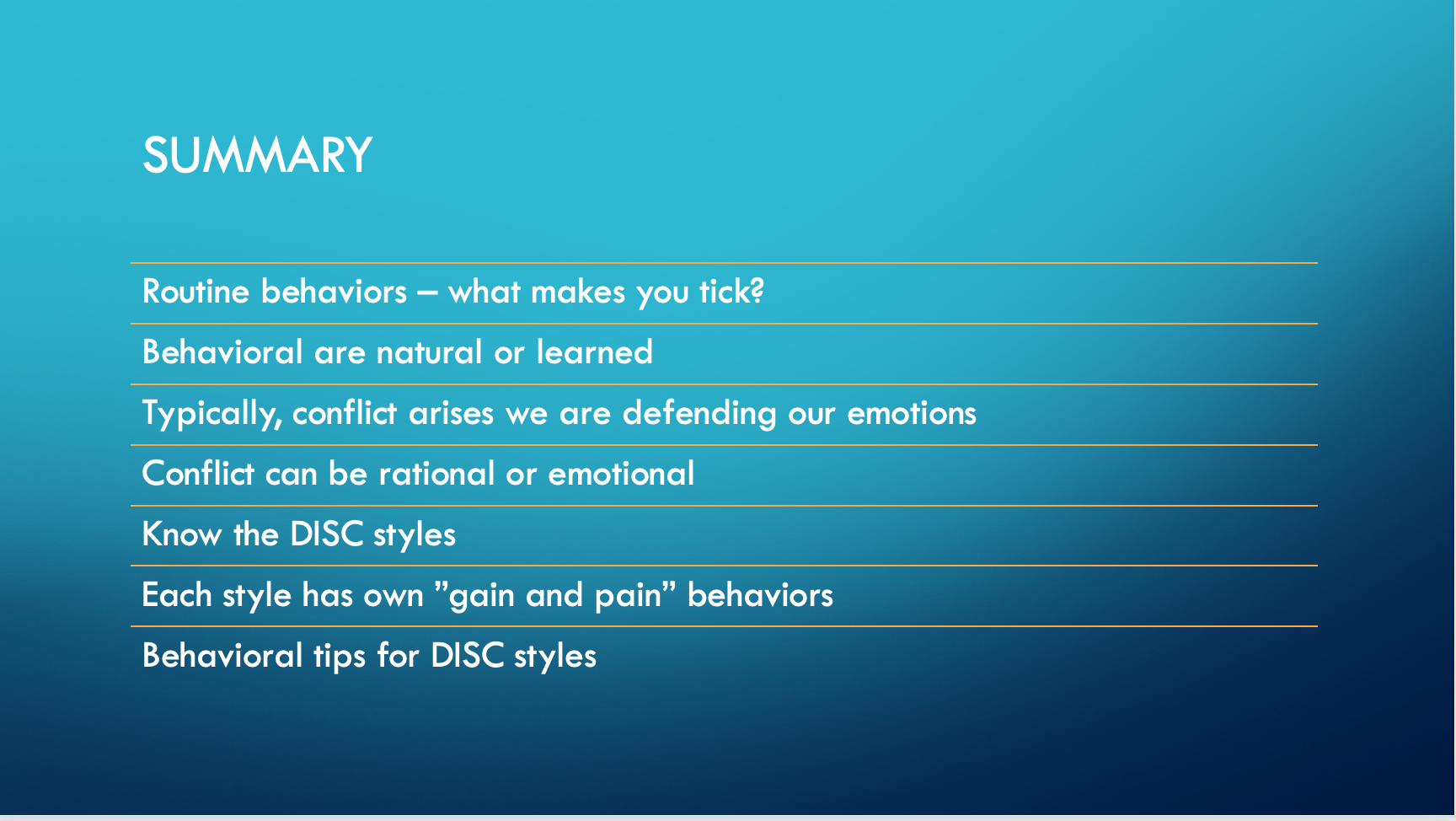 Managing Conflict Overview Summary