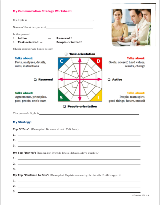 Extended DISC My Communication Strategy Worksheet