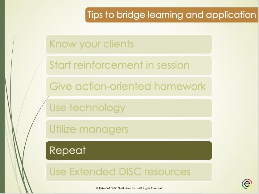 Repeat reinforcement tips slide