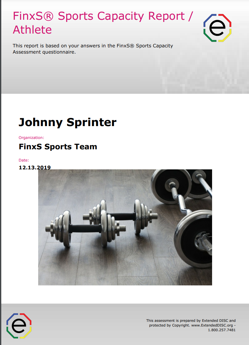 FinxS Sports Capacity Report Athlete Cover page