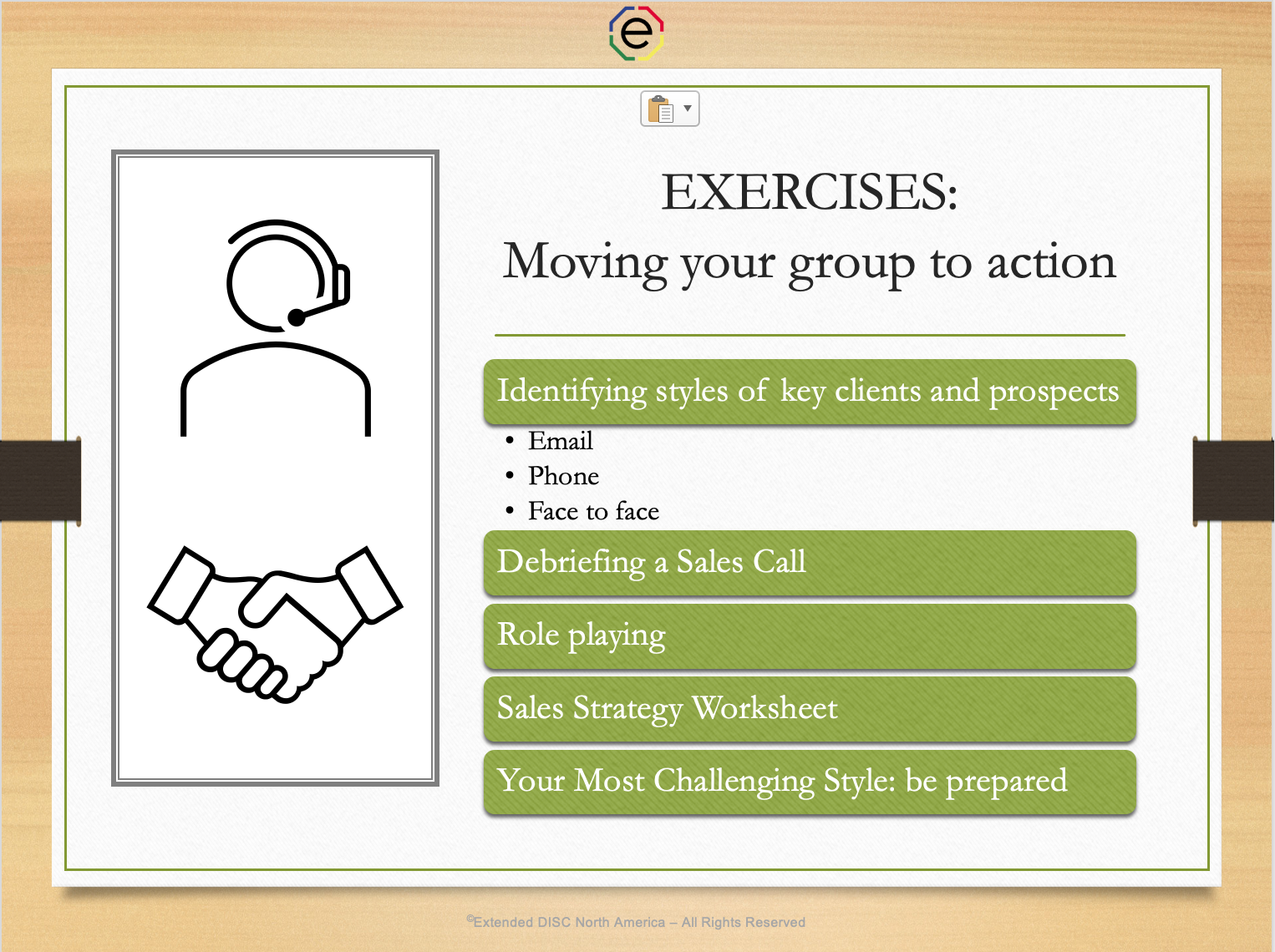 Exercises: Moving your sales groups to action DISC Webinar slide
