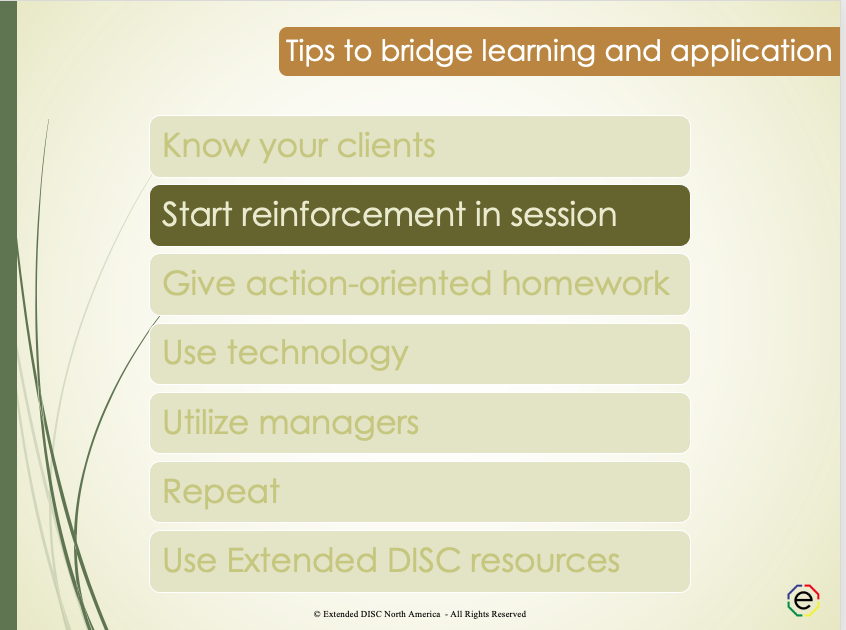 Start reinforcement in DISC Session tips slide