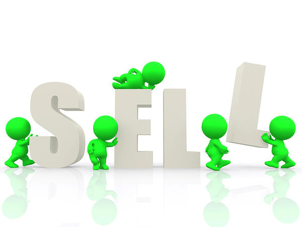 3D people around the word sell - isolated over a white background