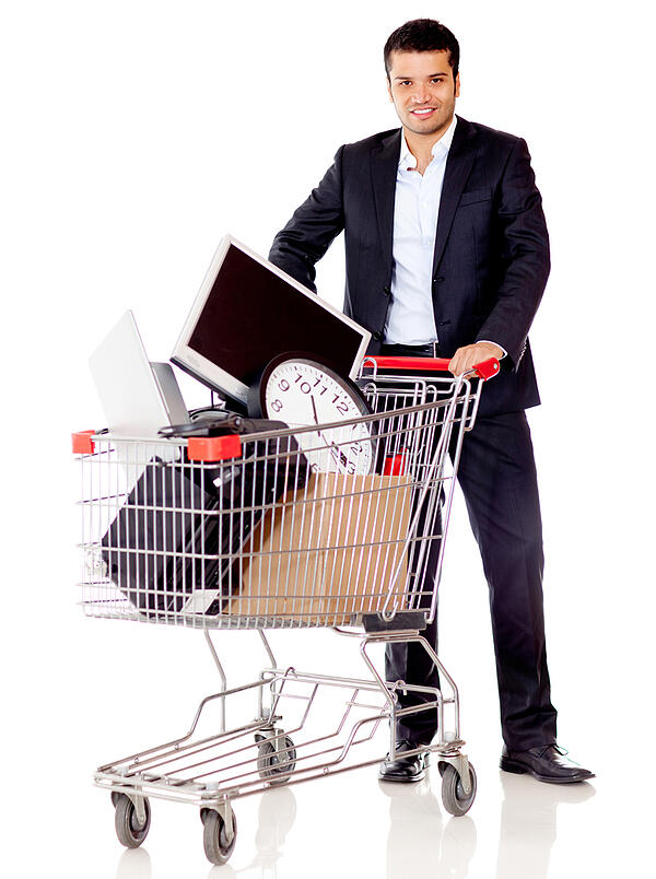 Businessman buying office supplies - isolated over a white background