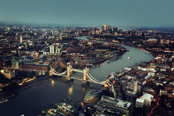 London aerial view with Tower Bridge, UK United Kingdom