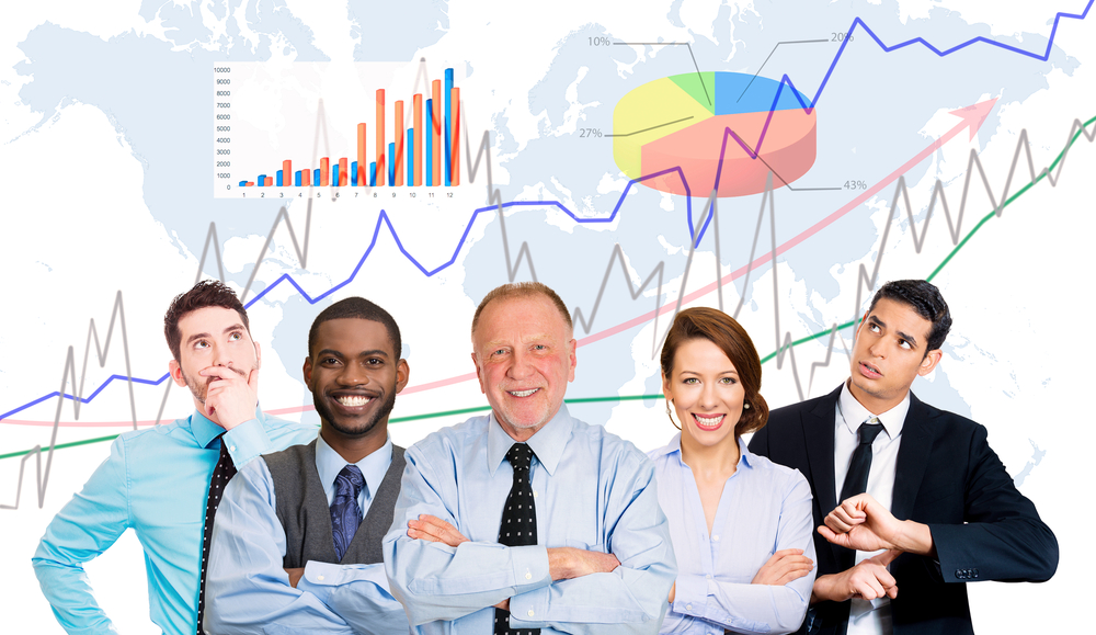 Multicultural group business people with folded hands, team leader concept finance graph chart diagram, world map background. Happy smiling corporate employees. Busy office lifestyle company executive