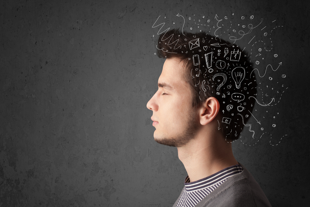 Young man thinking with white abstract lines and symbols-1
