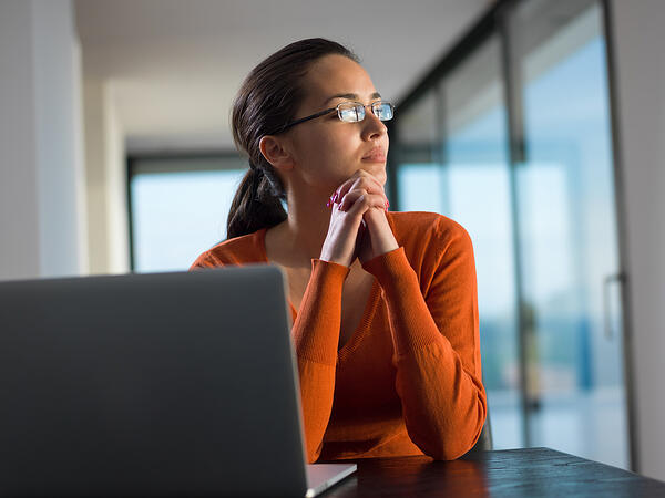 young business  woman working on laptop computer at modern home office