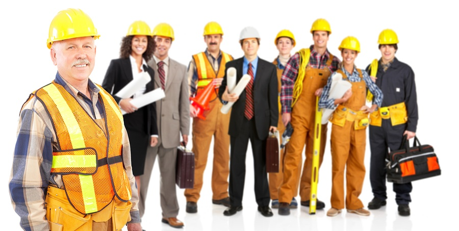 BS Large diverse group of construction workers
