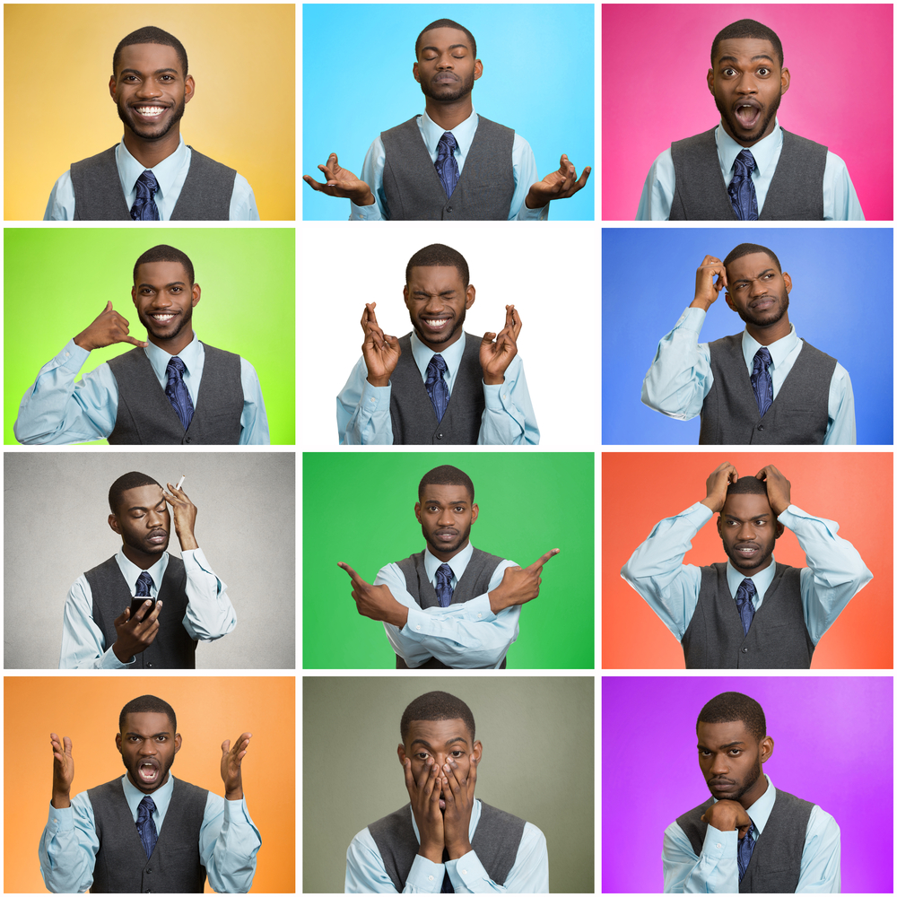 Man mood, behavior changes, swings. Collage young man expressing different emotions, showing facial expressions, feelings on colorful backgrounds. Human life perception, body language, gestures.
